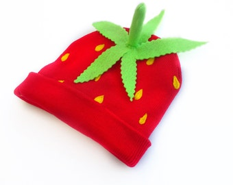Strawberry Beanie  Ready to Ship - Child or Adult Fruit Hat - Always in Season