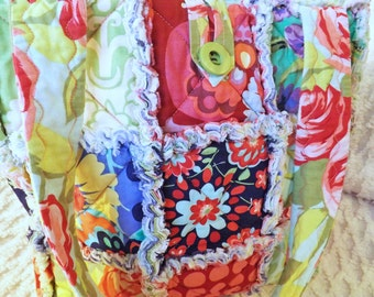 Rag Quilt Tote - Floral - Polka Dots - Amy Butler Love Collection fabrics - Quilted Purse - Rag Quilt Handbag - Handmade Tote