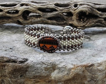 Free Form Peyote Stitch Beaded Skinny Bracelet  - Bead Weaving  - Vintage Hand Painted Peruvian Ceramic Cabochon  - Silver Galvanized