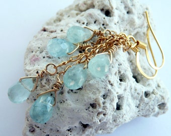 Handcrafted Artisan Aquamarine 14kt Gold Fill Wire Wrapped OOAK Bohemian Hippie Gift for Her March Birthstone Long Dangle Earrings