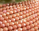 Pink Coral Czech Glass Beads Coral Round Opaque Salmon Firepolished 6mm (25)