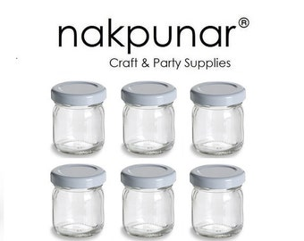 6 pcs 1.5 oz Straight Edge Glass Jars with White Lid