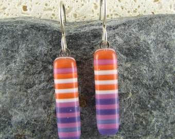 Orange and Purple Glass Earrings in Stripe Design. Handmade Fused Glass Earrings. Modern Earrings. Summery Jewelry. Trendy Jewelry.
