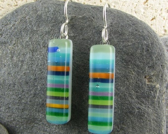 Colorful Fused Glass Earrings in Stripe Design. Glass Earrings in Shades of Green, Blue, Purple and Orange. Retro Jewelry. Casual Earrings.