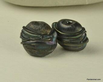 Silver Black Lampwork Beads - Earring Pair - SRA - CPteam