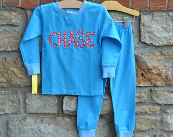Blue Star Pajamas - Personalized Monogram Boys PJs - Size 18m - 10 years - JULIANNE ORIGINALS