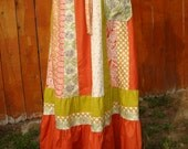 Hippie Patchwork Skirt Hippy VINTAGE Maxi Long Full Floor Length Eyelet Lace Fall Floral Orange Rust Olive Green designer elyse oRiGiNaLs