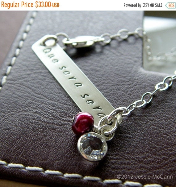 Anniversary Sale - Personalized Bracelet - Custom Sterling Silver Hand Stamped Jewelry - 1.5 Inch Bar Bracelet with Birthstone and Pearl