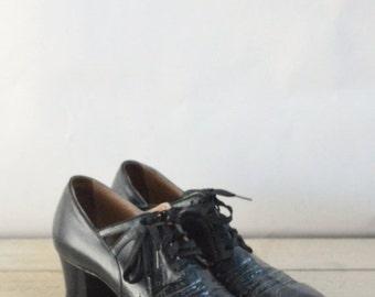 30% OFF 1930s Shoes --- Vintage Black Leather Shoes