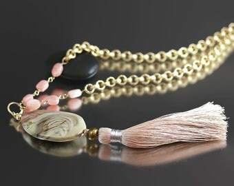 Royal Imperial Jasper Necklace - Pink Opal - Imperial Jasper - 35 Inch Long Gold Chain