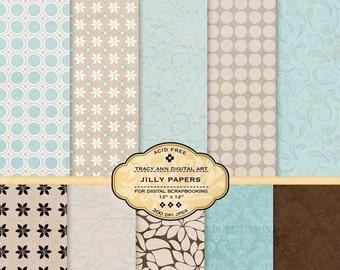 Digital Paper Pack for invites, card making, digital scrapbooking -  Jilly
