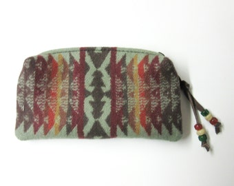 Wool Zippered Pouch Coin Purse Change Purse Accessory Organizer Cosmetic Bag Southwest Print from Pendleton Oregon