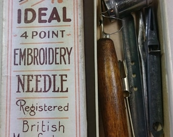 Vintage The Pride Ideal 4 Point Embroidery Needle British in Original Box with Interchangable Points 1940's