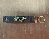 Military Wristlet, Navy Sister Name Tape Key Chain, Navy Sister Military Keychain, Navy Sister Key Fob