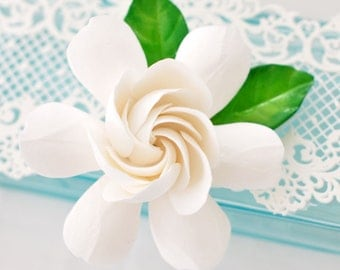 Made to Order - The Original Gardenia Hair Flower with Gardenia Leaves - You choose the color
