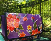 Purple Floral Oil Cloth and Canvas Courier Bag, Messenger Bag, Cross Body Shoulder Bag