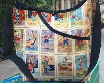 Dia De Los Muertos Skeleton Loteria Cotton Market Bag, Cross Body Day of the Dead Shoulder Bag