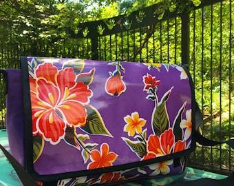 Purple Floral Oil Cloth and Canvas Courier Bag, Messenger Bag, Cross Body Shoulder Bag