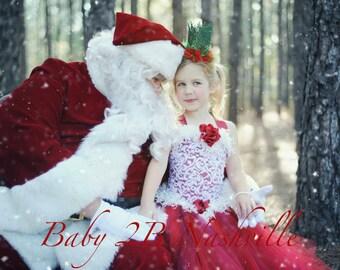 Red Dress Dress Lace Dress Holiday Dress Flower Girl Dress Wedding Dress Santa Dress Christmas Dress Toddler Tutu Dress Girls Tulle Dress