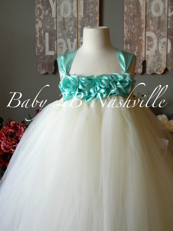 Vintage Tulle Dress Wedding Dress Flower Girl Dress Ivory Dress Aqua Dress Toddler Tulle Dress Baby Dress Robins Egg Dress