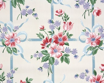 1940s Vintage Wallpaper by the Yard - Pink and Lavender Flowers with Blue Ribbons
