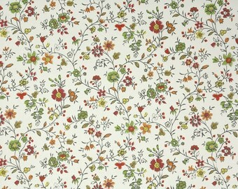 1960s Vintage Wallpaper by the Yard - Floral Chintz Wallpaper Red Yellow Orange and Green