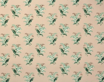 "1950s Vintage Wallpaper by the Yard - Nancy McClelland ""Lily of the Valley"" White Flowers on Brown"