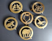 6 Brass Trivets Stand with Animals Owl Bird Elephant Cats Dog Butterfly Sarna India