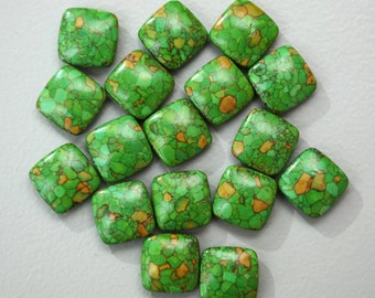 Lime Green Mosaic Turquoise 20x20mm Puff Squares (Set of 17)