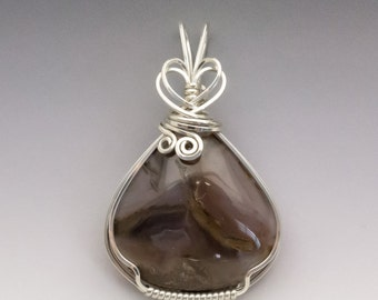 Golden Indigo Agate Sterling Silver Wire Wrapped Pendant - Ready to Ship!
