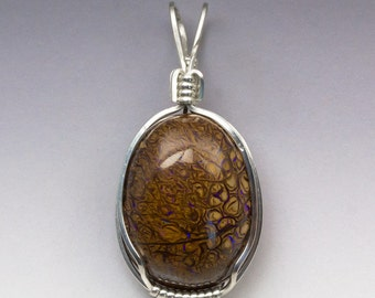 Boulder Opal Sterling Silver Wire Wrapped Pendant Man or Woman