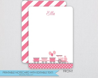 Pink Balloons and Trains Party Thank You Notecards- DIY - Instant Download & Editable File - Personalize at home with Adobe Reader