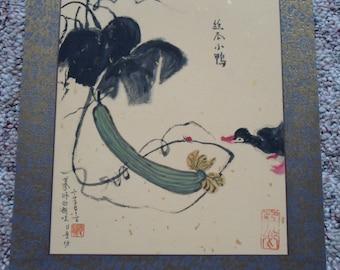 "Duck vegetables ink painting Original 10'*12"" folk art gift wall deco Oriental Christmas Present"