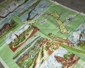 Only 5 Bucks.....Vintage Light Green New Zealand Map Souvenir Linen Kitchen Tea Towel