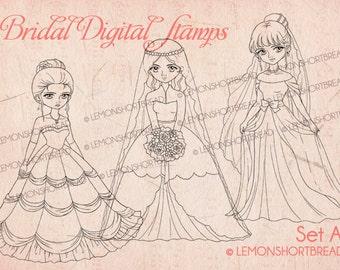 Bridal Digital Stamps Wedding Bride, Digi Download, Coloring Pages, Princess Gown, Scrapbooking Supplies, Printable Clip Art