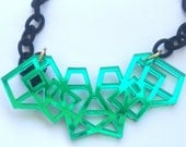 Geometric Necklace Green Mirrored Acrylic Laser Cut with Black Fabric Link Chain Laser Cut Necklace