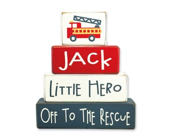 Personalized baby gift nursery fire truck little hero room décor baby shower playroom wood sign stacking blocks fire truck unique gift