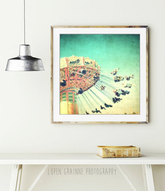 "Carnival photography - circus art - kids room decor - oversized art - whimsical art - vintage nursery decor 8x8 ""One More Whirl"""