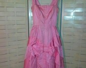 1950s Suzy Perette New York vintage pink cocktail party dress cute big bow - as is