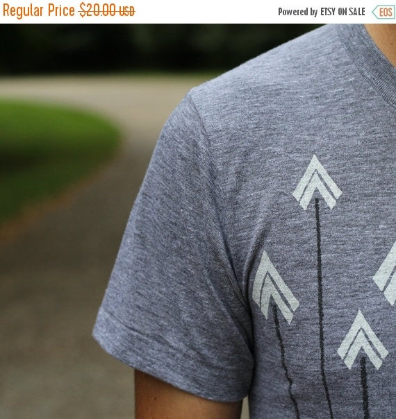SALE Tshirt men - graphic tee with bright white arrows on American Apparel gray - Headhunter by Blackbird Tees - CLOSEOUT