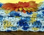 Handmade WashCloths DishCloths Blue, Yellow, White, 4 Soft Face Wash Towel, Kitchen Cloth, Best Dish Towel, Baby Washcloth, Crochet