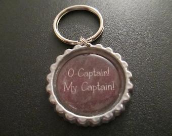 ONE 'O Captain! My Captain!' Bottle Cap Charm Keychain