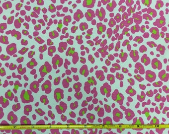 Pink and lime green leopard on Cotton Lycra knit Fabric 1 yard