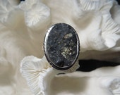 Druzy Pyrite in Magnetite Ring Size 9