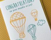 Balloon Bundle of Joy - letterpress card