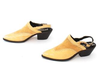 size 7 CLOGS tan leather 80s 90s BOHEMIAN slip on SLINGBACK high heel mules