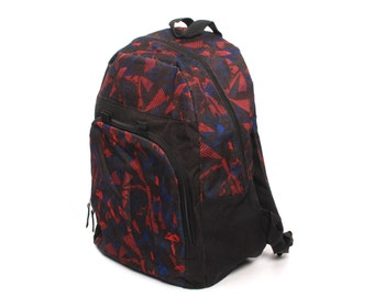 ABSTRACT blue red canvas 80s 90s BACKPACK grunge raver geometric KNAPSACK