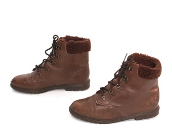 size 6.5 AVIATOR brown leather 70s 80s FLEECE CUFF lace up ankle boots