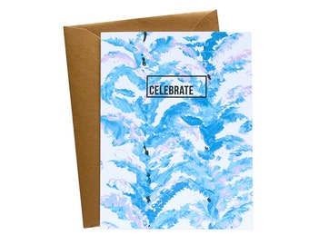CELEBRATE Lavender and Periwinkle Floral Greeting Card / Handpainted / Gold / Palms