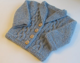 Baby Sweater 12 month Handknit Blue Wool Cabled Cardigan